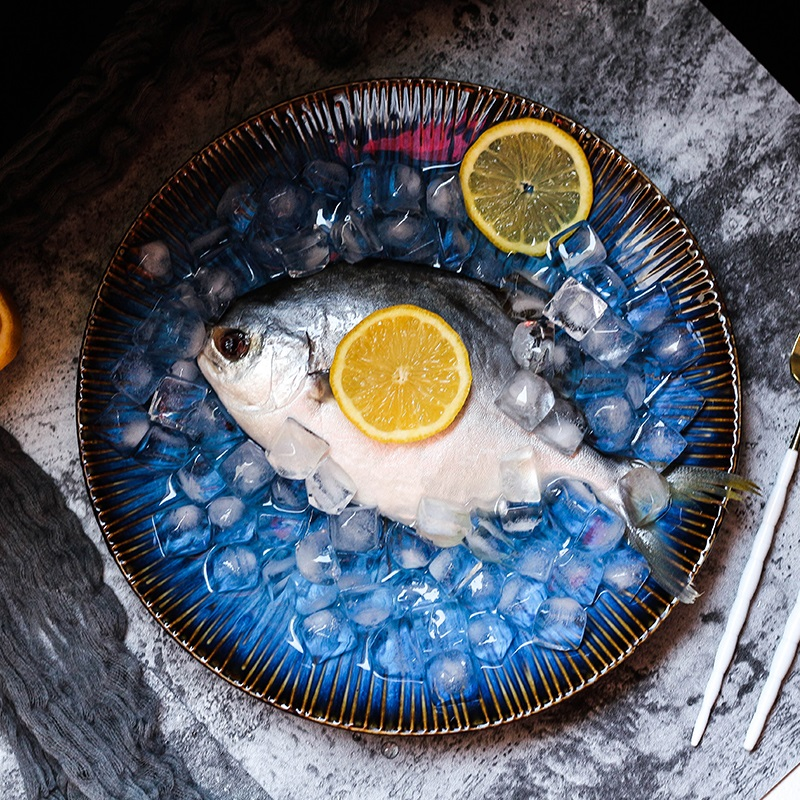 Fruit Salad Fish Tableware Creative Western style Ceramic Porcelain Deep Blue Food Steak Dish Pasta Plate