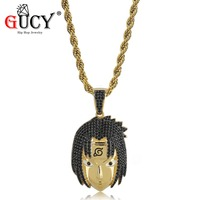 GUCY Hip Hop Naruto Anime Uchiha sasuke Pendant Necklace Micro Pave Cubic Zirconia Personalized Necklaces for Christmas Gift