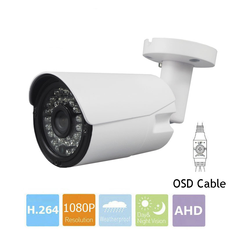 CCTV Camera With OSD Cable CMOS 1MP 2MP SONY IMX323 AHD Camera 720P 1080P Outdoor Waterproof Bullet Security Camera For AHD DVR wistino cctv camera metal housing outdoor use waterproof bullet casing for ip camera hot sale white color cover case