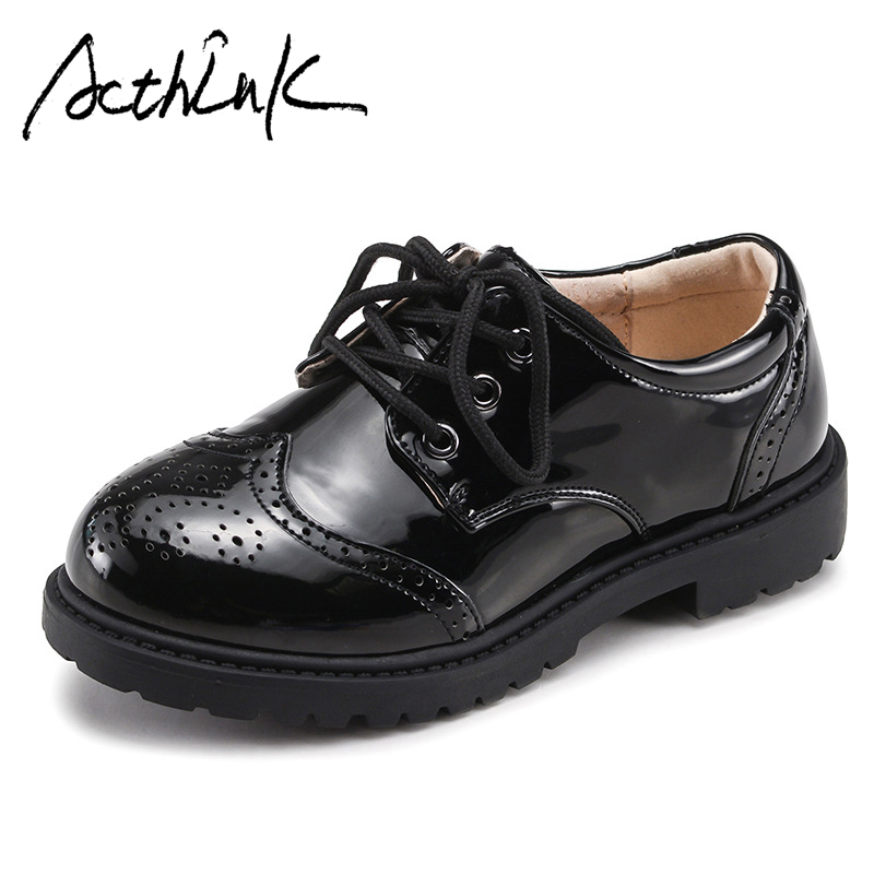 ActhInK New 2018 Boys Leather Shoes England Preppy Style School Children Uniform Shoes Teen Boys Formal Shoes Boys Wedding Shoes