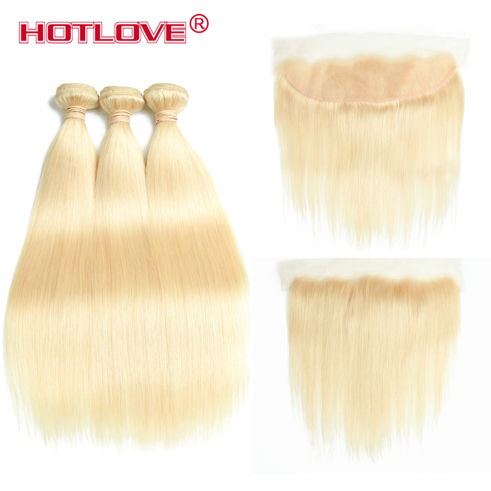 Hotlove перуанский волос 613 светлые прямые человеческих волос 3 Связки с 13*4 Кружева Фронтальная уха до уха Цвет #613 Волосы remy предварительно выщи...