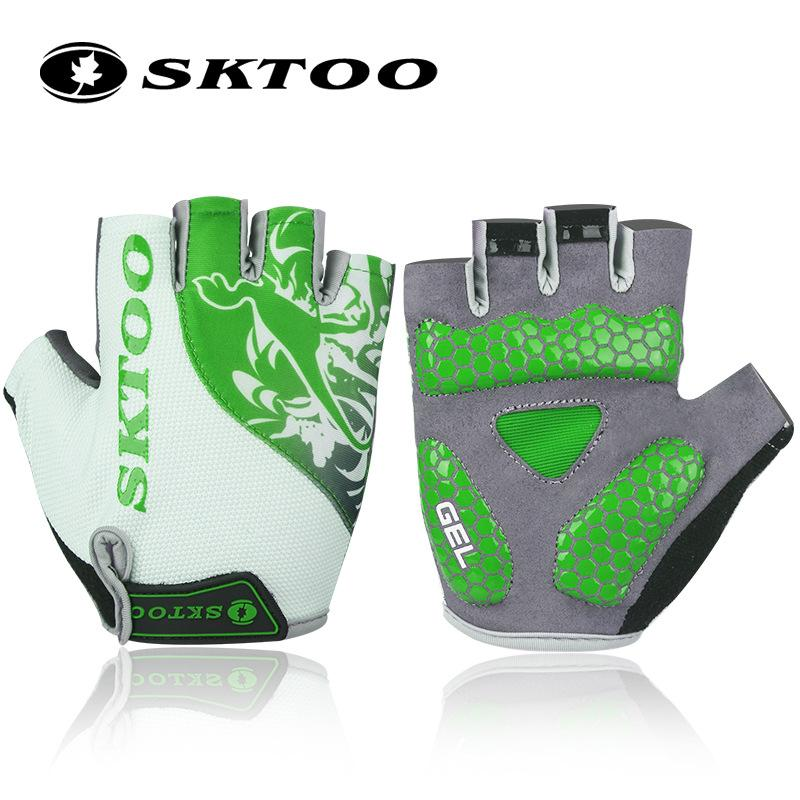 SKTOO green Summer Half Finger Cycling Gloves Men shockproof bike Outdoor MTB sports Anti-slip guantes ciclismo Bicycle Gloves