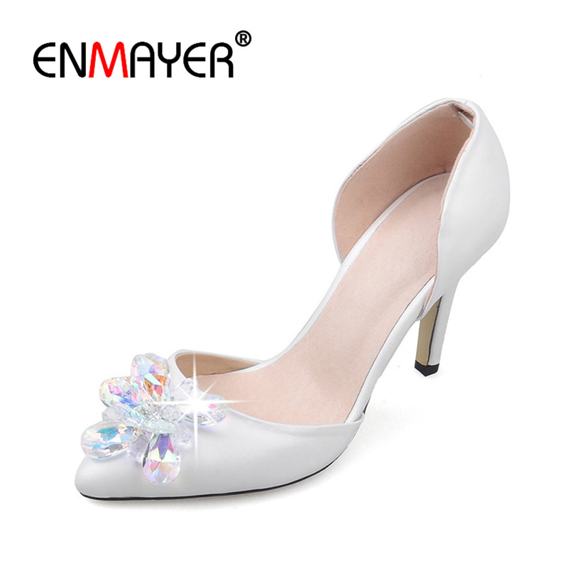 ENMAYERRhinestone White Shoes Genuine Leather in font b Women s b font Shoes Pointed Toe font