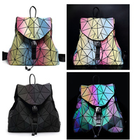Discoloration Women Backpack Diamond Lattice Geometry Quilted Luminous School Bag Backpacks For Teenage Girl Holographic Mochila