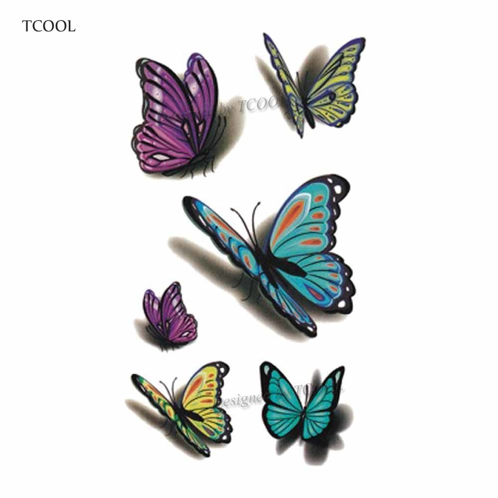 HXMAN Butterfly Temporary Tattoo Sticker Tattoos For Women Fashion Body Art Kids Children Hand Fake Tatoo 10.5X6cm A-034