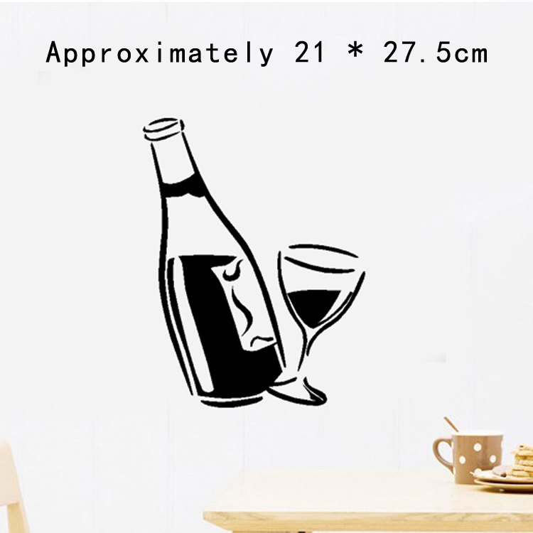 Easy Time UK Kitchen Decal Wine Glass And Bottle Wall Art Stickers - Vinyl decals for wine glasses uk