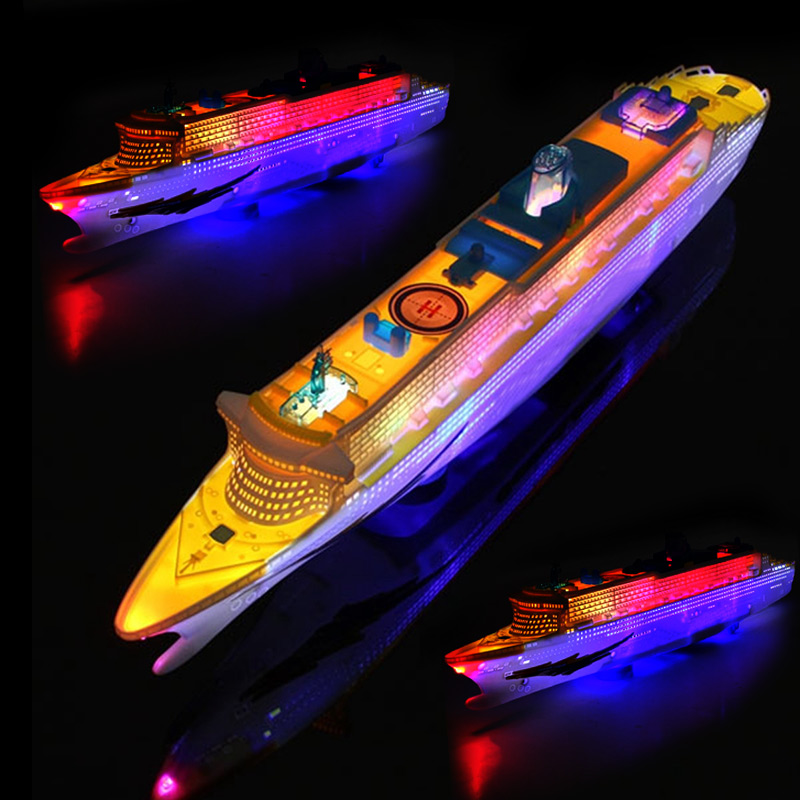 Light Music Ocean Liner Ship Model Flashing Sound  Cruises for Children Kids Boat Toys Gift Automatic Steering Gift For Boy FJ88