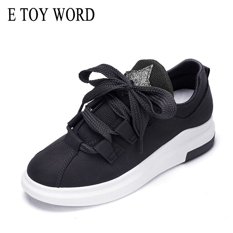 E TOY WORD Women Flats 2018 spring new Korean version Lace-up casual shoes women thick soles Breathable Womens Sneakers