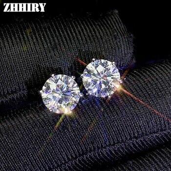 Zhhiry real moissanite 18k brincos de ouro branco para as mulheres parafuso prisioneiro brinco total 2ct d vvs1 pedra preciosa com certificado jóias finas
