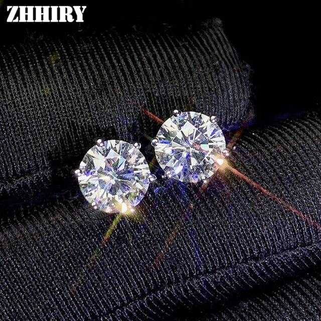 Zhhiry real moissanite 18k branco ouro parafuso prisioneiro brinco para mulher total 2ct cada 1ct redondo 6.5mm d vvs jóias finas 1