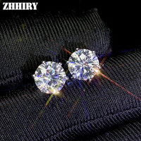 ZHHIRY Real Moissanite 18k White Gold Earrings For Women Stud Earring 2ct D VVS1 Gemstone With Certificate Fine Jewelry