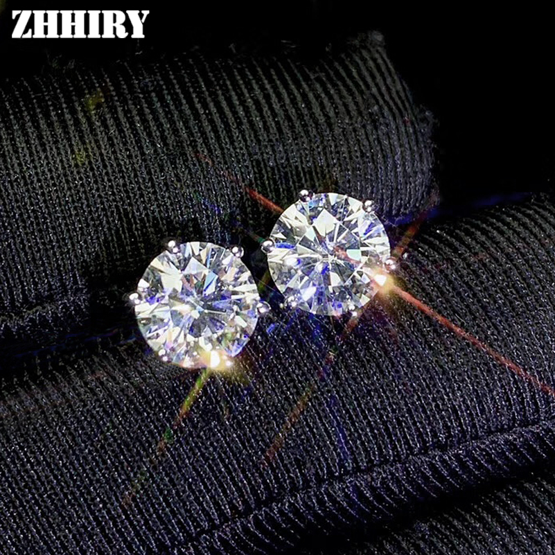 ZHHIRY Real Moissanite 18k White Gold Earrings For Women Stud Earring Total 2ct D VVS1 Gemstone With Certificate Fine Jewelry