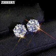 Zhhiry realモアッサナイト18 18kホワイトゴールドのイヤリング女性のためのスタッドのイヤリングの合計2ct各1ct d vvs証明書ファインジュエリー