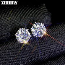 Zhhiry real moissanite 18k brincos de ouro branco para as mulheres parafuso prisioneiro brinco total 2ct cada 1ct d vvs com certificado jóias finas