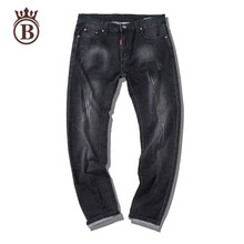2017 new men jeans straight fashion jeans cotton solid color Elastic force good quality black jeans casual pants plus size 29-44
