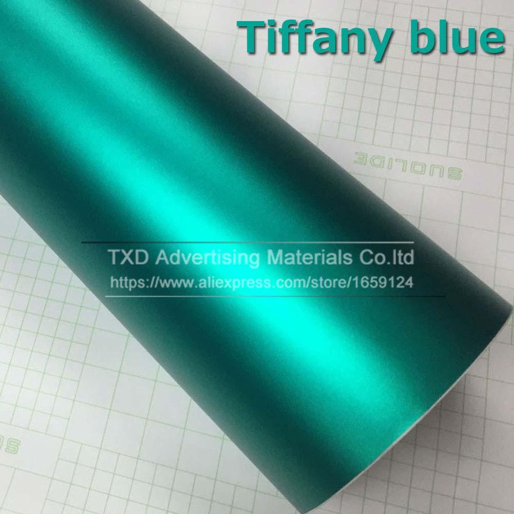 1,52*5 м/10 м/15 м/20 м в рулоне Премиум атласный металлический матовый хром Красный Синий Зеленый Виниловая пленка без пузырей - Название цвета: tiffany blue