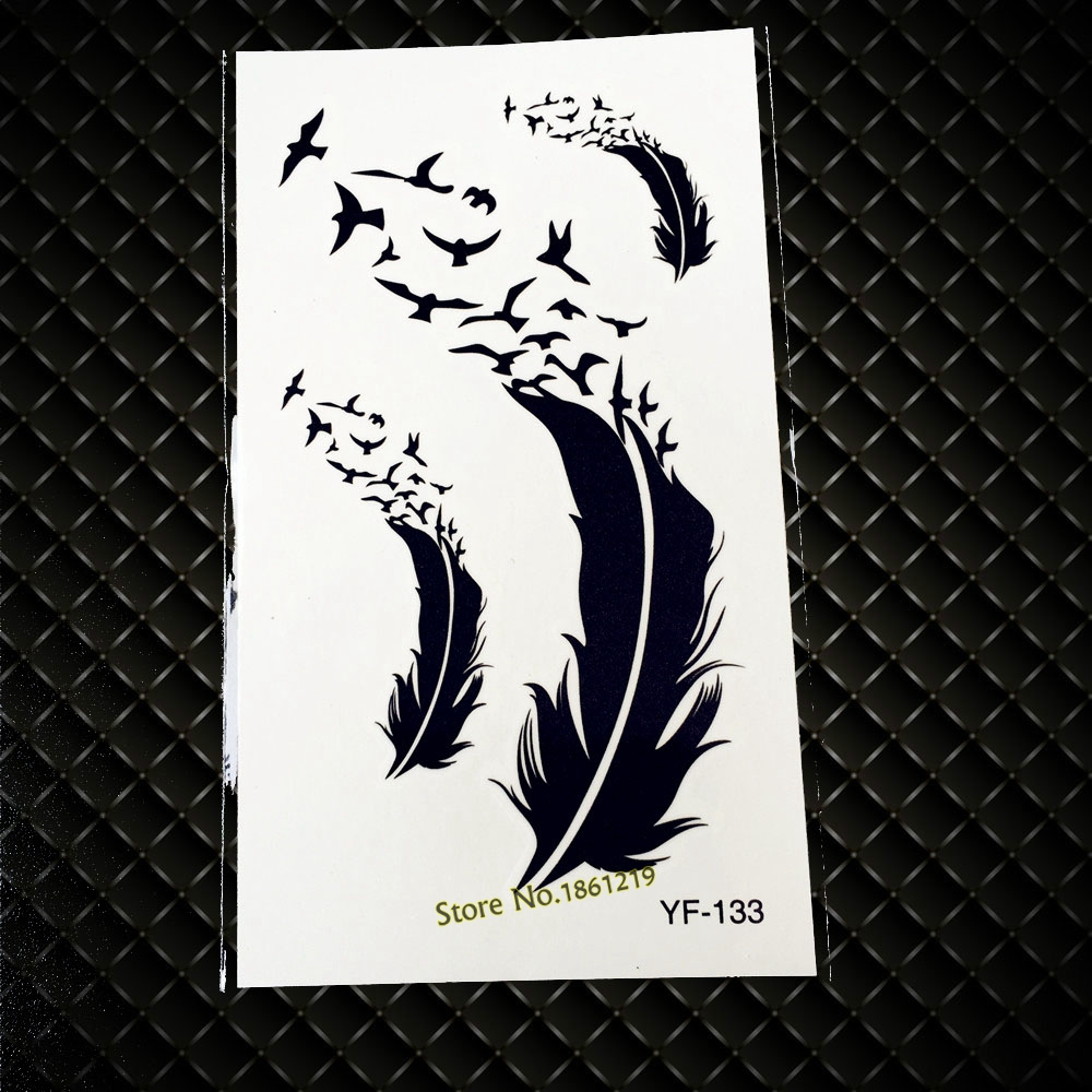 New Hot Fashion Feather Flying Birds Design Temporary Tattoos GYF-133 Sexy Men Women Body Arm Leg Water Transfer Tattoo Stickers