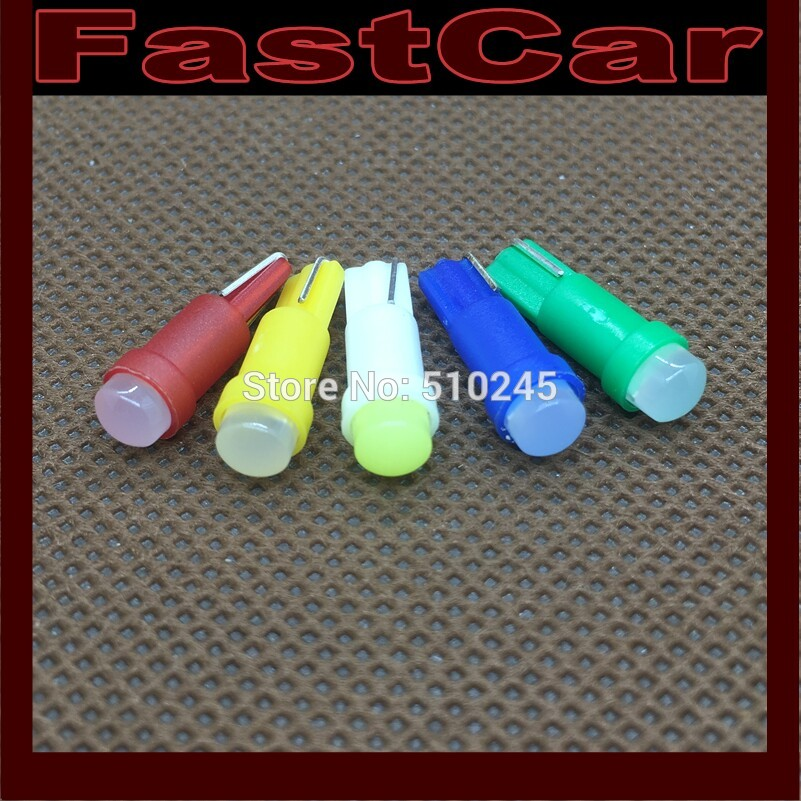 100X 12V Car Interior LED T5 1 led Cob Dashboard Wedge auto Light Bulb Lamp Yellow/Blue/green/red/white free shipping