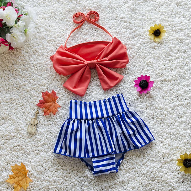 Cute baby little girls rain bow Fringe string Bikini swim bathing suit for kid high waist Swimwear sea Biquini infantils ER436