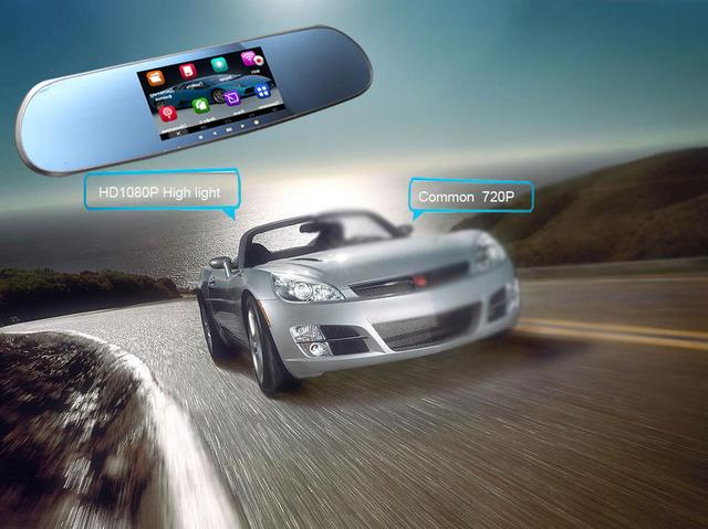 Sistema de asistencia de seguridad de conducción Android espejo retrovisor de coche dvr gps full HD 1080 P con Transmisor FM Bluetooth Manos Libres de llamadas
