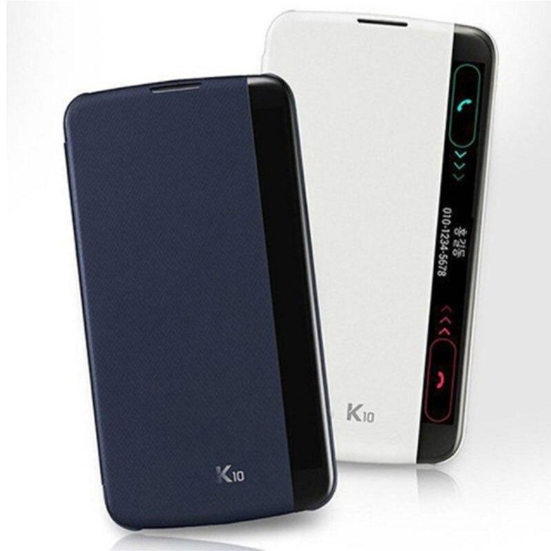 For LG K10 2016 Case Flip Smart Quick Cover Side Window View Leather Phone Bags For LG K10 K 10 LTE K410 K420N K430 K430ds Capas(China)