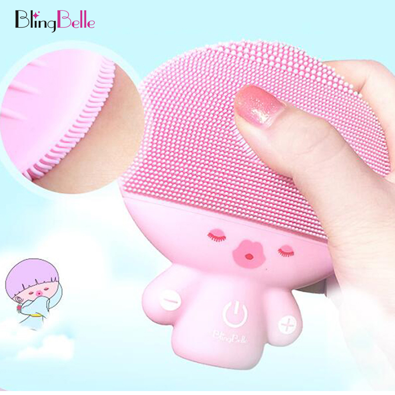 BlingBelle Soft Silicone Facial Cleaner Brush Double Size Cute Girl Silicone Face Brush Waterproof Wireless Charging Skin Care