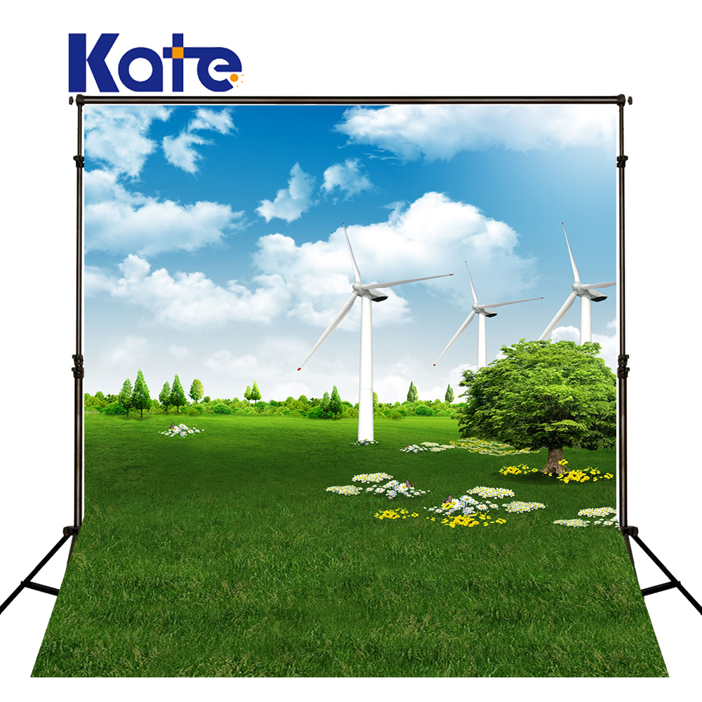 300CM*200CM(about 10ft*6.5ft)Kate Background Rotating Windmill Prairie Photography Backdrops Photography Backdrop 3303 LK