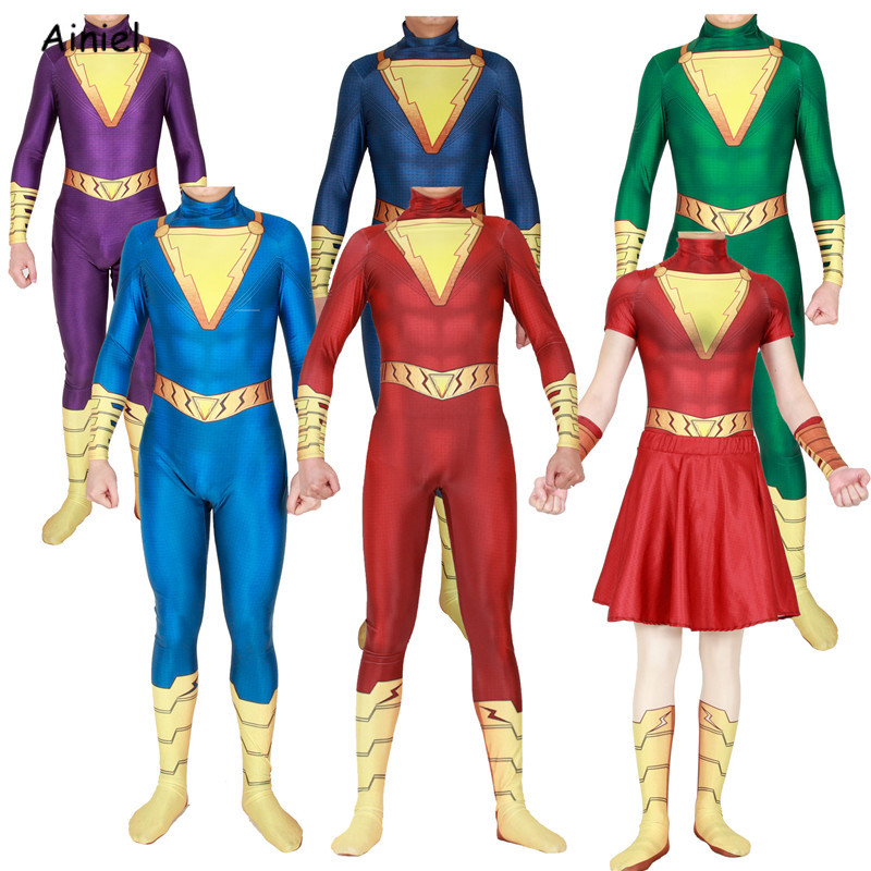 Shazam Cosplay Captain Marvel Costume Superhero Shazam Billy Batson Zentai Bodysuit Suit Cloak Halloween Costumes For Adult Kids