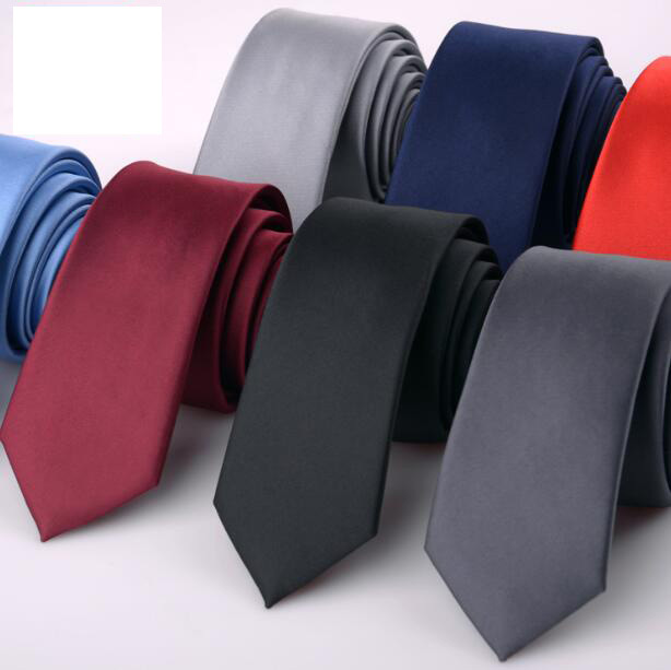 Solid Color Tie Male Korean Version 6cm Small Narrow Version Of The Formal Business Wedding Neckties Red Blue Black Silver Tie