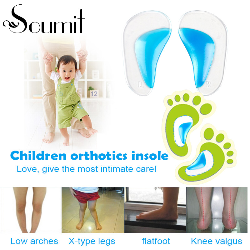 Soumit Kids Gel Orthotic Ortopediska Insoles för Barnskor Flatfoot Corrector Arch Support Orthotic Pads Baby Toddler Innersula