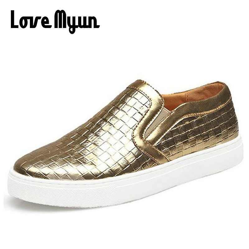 Very Fashion mens pu leather gold Nightclubs shoes men's leather casual Flat shoes slip on Sneakers shoe big size 38-47 AA-23 fooraabo 2017 new print luxury mens casual shoes flat autumn winter hip hop high top men sneaker pu leather shoes big size 38 45