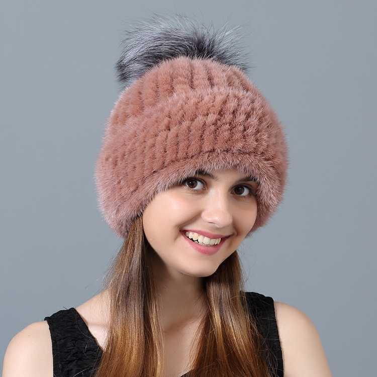 Chapéus de inverno para Mulheres Fur Real Mink Chapéu Gorro De Pele de Moda das Mulheres Streetwear Quente Chapéu de Pele De Raposa Grande Pompom czapka Zimowa MY818
