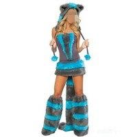 Abbille Halloween Top Quality Fur Corset Costume Blue Cheshire Cat Corset Costume Fashionable Women Winter Style