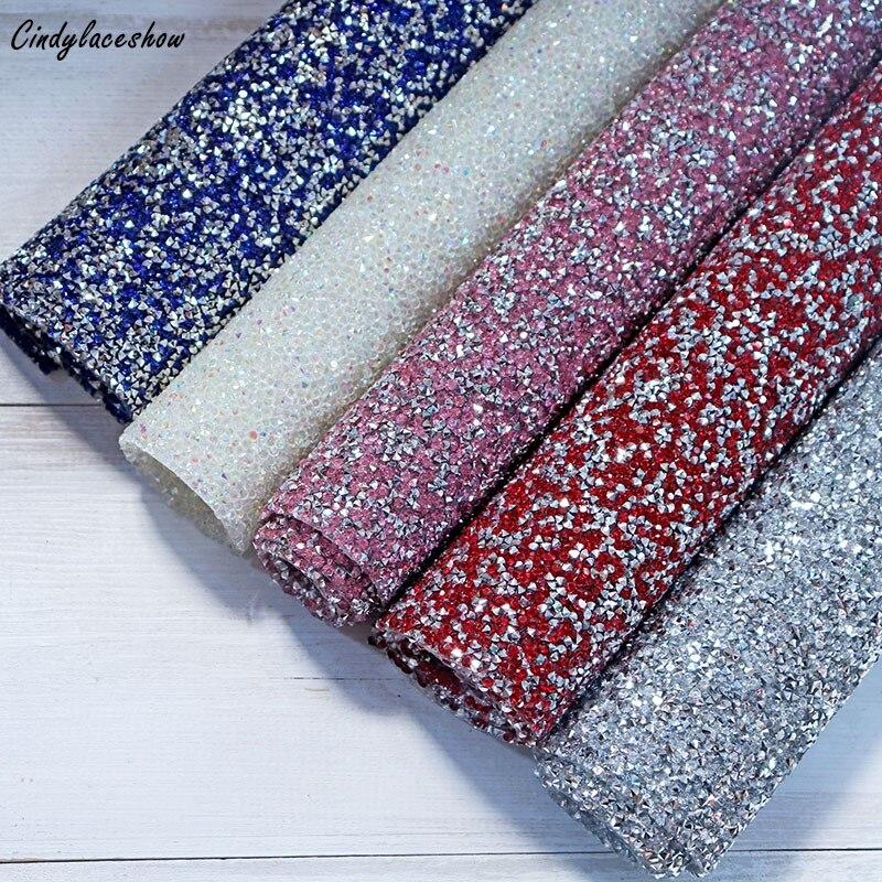 1PC 24*40cm Pink Red Blue AB Crystal Hotfix Rhinestones Mesh Trim Crystals Appli