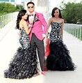 Negro Sirena Vestidos de Baile 2017 Largo Sweetheart Equipada Encaje Vestido De Fiesta Más El Tamaño de Las Colmenas Del Organza Tribunal Tren Vestidos de Fiesta