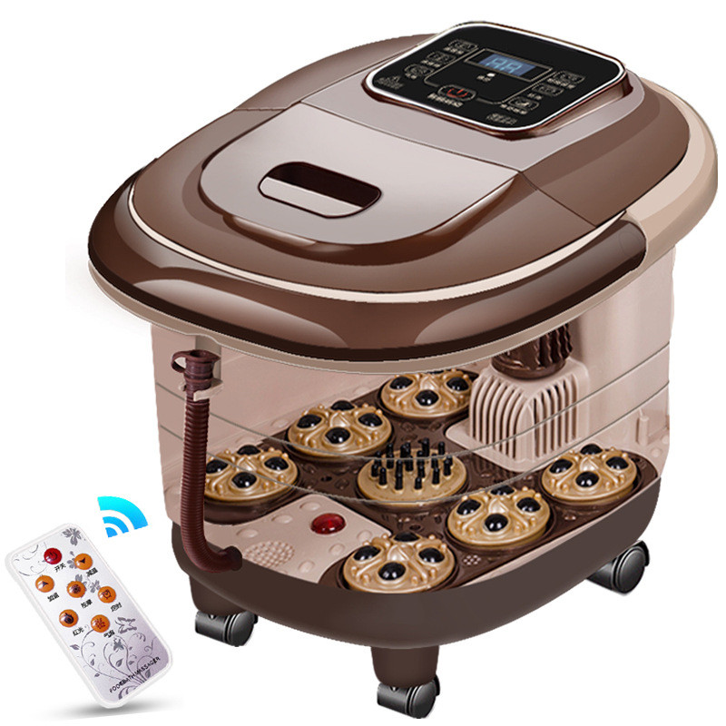 1pc Fully-Automatic Foot Massage Bucket Heated Electric Footbath SPA Machine Tub Adjustable Temperature With Remote Control A585 fully automatic heating foot tub electric foot massage machine footbath bucket instrument with deep barrel for home foot device