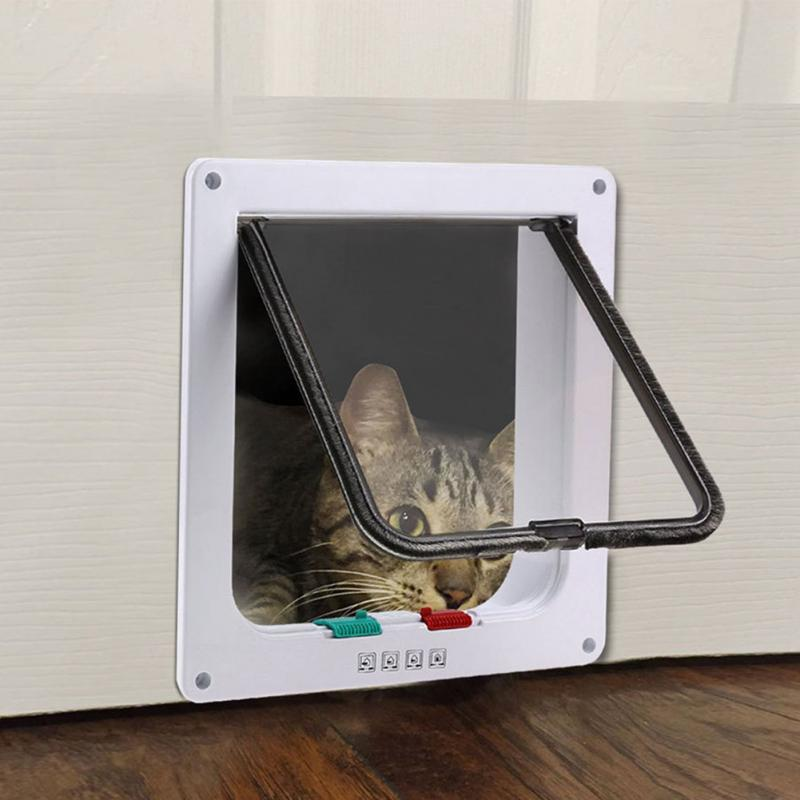 New Arrival Controllable Plastic Kitten Pet Cat Puppy Dog Supplies Lock Lockable Safe Flap Door 3 Size White Cat Gates #2