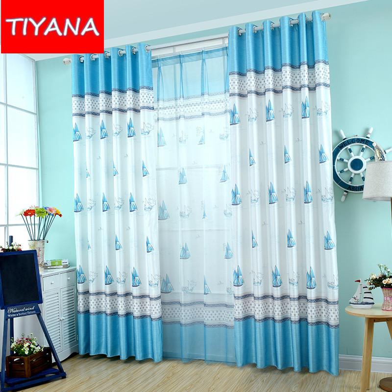 nios cortina para el dormitorio mediterrneo velero azul cortina de impresin cortina para bebs dormitorio persianas