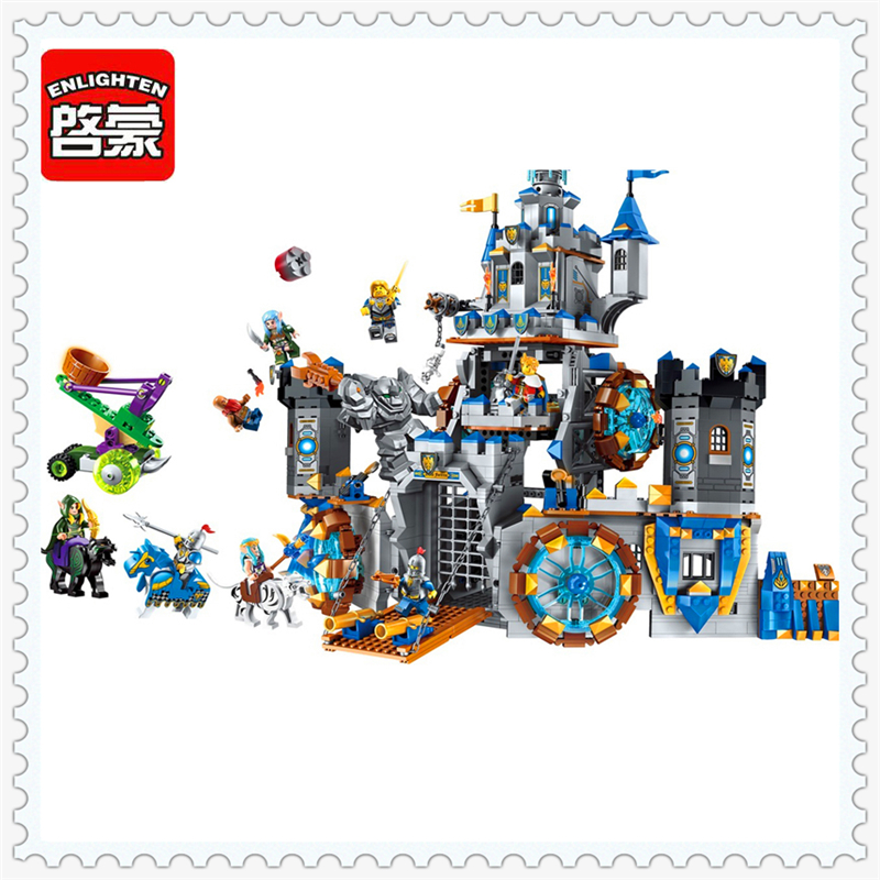 ENLIGHTEN 2317 War Of Glory Castle Knights Battle Building Block Compatible Legoe 1541Pcs Toys For Children enlighten new 2315 656pcs war of glory castle knights the sliver hawk castle 6 figures building block brick toys for children