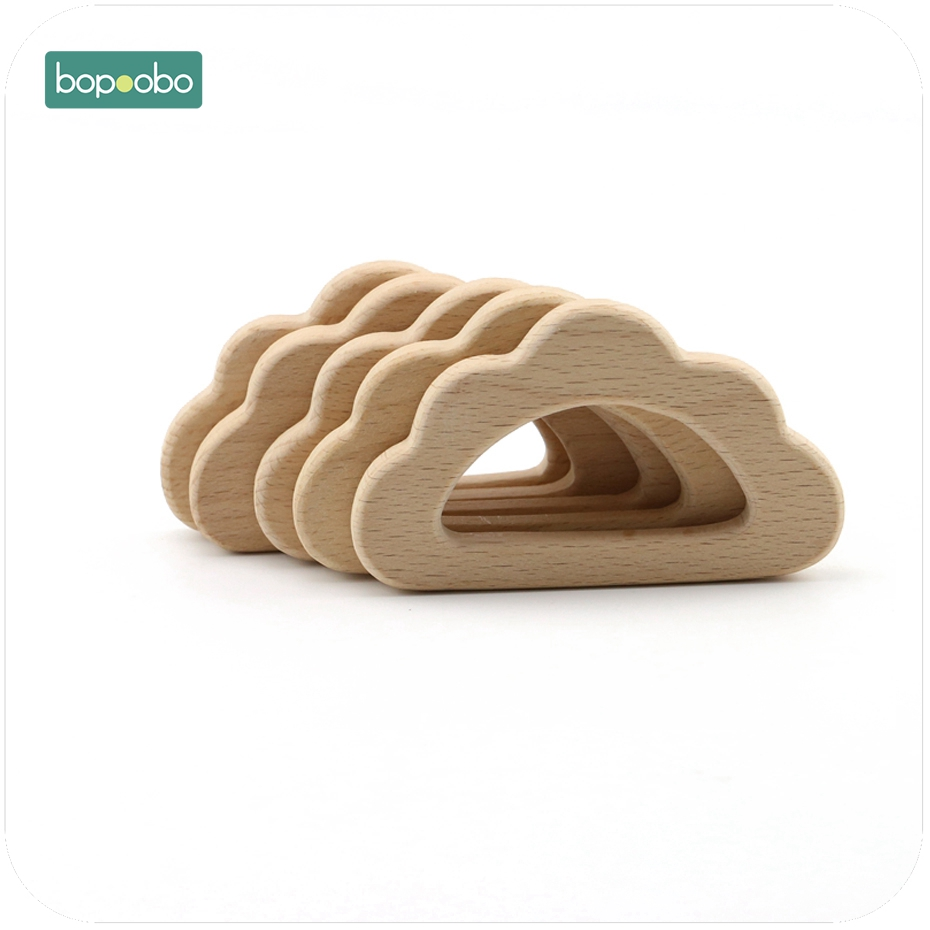 Bopoobo Wooden Teether Big Cloud 1pc Beech Wood Chew Wooden DIY Teething Accessories Nursing Jewelry Baby Teether
