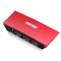 Tesla smart Mini 2 Port HDMI 1x2 Powered Amplifier Splitter Dual Display with Full HD 4K,1080P, 3D,HDCP, Deep Color,Red