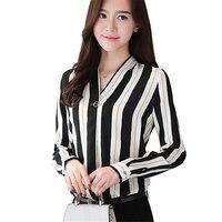 Fashion Autumn Women Blouse V Neck Shirt Long Sleeve Shirt Elegant Womens Clothing Office Wear Chiffon