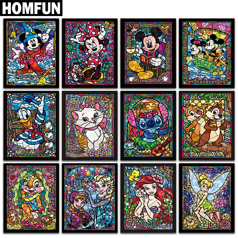 HOMFUN Full Square/Round Drill 5D DIY Diamond Painting Cartoon characters 3D Embroidery Cross Stitch Mosaic Rhinestone Decor
