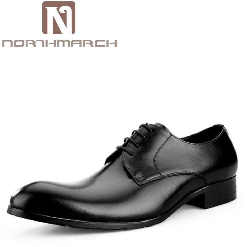 NORTHMARCH Mens Suit Shoes Dress Genuine Leather Business Male Shoes Handmade Black Brown Formal Derby Shoes Schuhe Herren