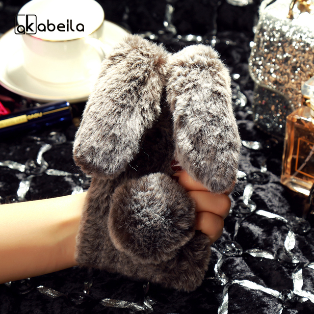 AKABEILA Rabbit Fur Silicon Phone Cases For Samsung Galaxy S7 G930F G930FD G930W8 G930 G9300 SM-G930A SM-G930R4 Covers