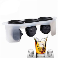 3D Creative Skull Skeleton Ice Cream Mold Silicone Large Ice Lattice Cube Whiskey Ice Maker Kitchen