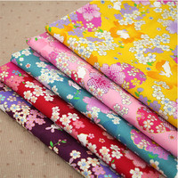 50x110cm Japanese Style Fabric Cherry Blossom Rabbit Bronzing Twill Cotton Fabric For DIY Sewing Patchwork Curtain Clothes