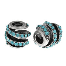 European Charm Beads Barrel Antique Silver Lake blue Rhinestone Spiral About 11mmx11mm,Hole: About 4.5mm,1 Pc(China)