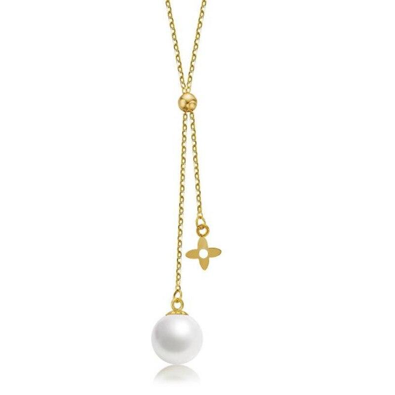 18 K or jaune 7-7.50mm naturel de culture d'eau douce perle pendentif collier blanc perle bijoux cadeau pour les femmes fête d'anniversaire