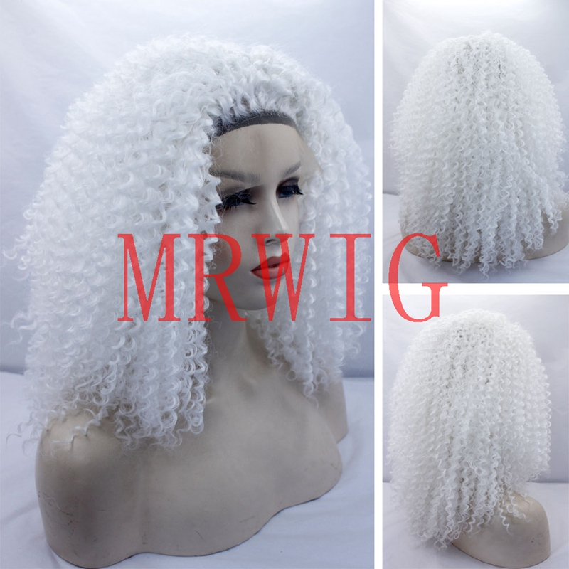 MRWIG white color 22inch 180%high density afro kinky curly front lace wig glueless for l ...